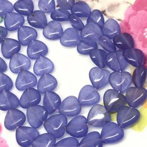 Purple Chalcedony Heart Beads 12 mm Alexandrite toned Gemstone  Beads / Lilac Beads | Natural genuine other-shape Gemstone beads for beading and jewelry making.  #jewelry #beads #beadedjewelry #diyjewelry #jewelrymaking #beadstore #beading #affiliate #ad