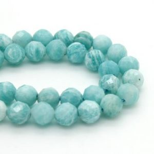 Shop Amazonite Faceted Beads! Natural Amazonite, Amazonite Faceted Sphere Ball Round Natural Gemstone Beads Stones – 4mm 5mm | Natural genuine faceted Amazonite beads for beading and jewelry making.  #jewelry #beads #beadedjewelry #diyjewelry #jewelrymaking #beadstore #beading #affiliate #ad