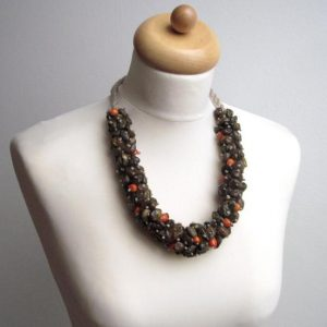 Raw Stone Statement  Necklace OOAK Earthy Brown Red Orange Baltic Amber Eco Friendly Jewelry Natural | Natural genuine Gemstone necklaces. Buy crystal jewelry, handmade handcrafted artisan jewelry for women.  Unique handmade gift ideas. #jewelry #beadednecklaces #beadedjewelry #gift #shopping #handmadejewelry #fashion #style #product #necklaces #affiliate #ad