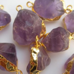 Shop Amethyst Chip & Nugget Beads! Raw Amethyst Connectors, Raw Gemstone Connectors, Natural Amethyst Crystal, Amethyst Rough, 5 Pieces, 22mm To 28mm Approx | Natural genuine chip Amethyst beads for beading and jewelry making.  #jewelry #beads #beadedjewelry #diyjewelry #jewelrymaking #beadstore #beading #affiliate #ad
