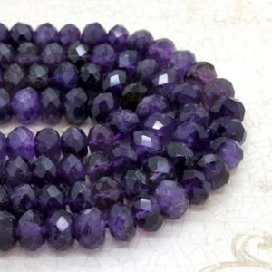 Shop Amethyst Faceted Beads! Natural Amethyst, Amethyst Faceted Rondelle Loose Gemstone Stone Beads | Natural genuine faceted Amethyst beads for beading and jewelry making.  #jewelry #beads #beadedjewelry #diyjewelry #jewelrymaking #beadstore #beading #affiliate #ad