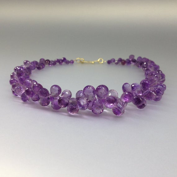 Fabulous Amethyst Round Teardrops Necklace - Statement Collier - 14k Gold Plated Special Clasp-gift Idea -faceted Natural Purple Gemstone