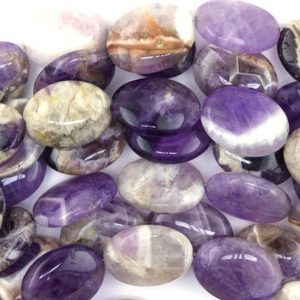 "Shop Amethyst Beads! 25mm natural amethyst flat oval beads 15.5"" strand 36781 