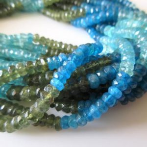 Shop Apatite Faceted Beads! Natural Green Apatite Blue Apatite Rondelle Bead, 5.5mm Faceted Rondelle Beads, Multi Color Apatite Beads, 13.5 Inch Strand, Sku-2659 | Natural genuine faceted Apatite beads for beading and jewelry making.  #jewelry #beads #beadedjewelry #diyjewelry #jewelrymaking #beadstore #beading #affiliate #ad