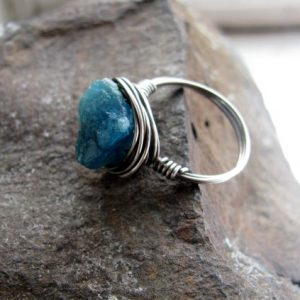 Shop Apatite Rings! Raw Apatite Nugget and Sterling Silver Filled Wire Wrapped Ring | Natural genuine Apatite rings, simple unique handcrafted gemstone rings. #rings #jewelry #shopping #gift #handmade #fashion #style #affiliate #ad