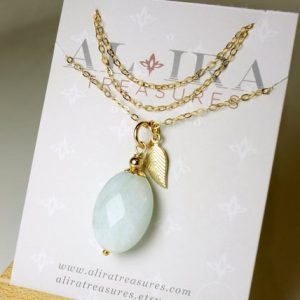 Shop Aquamarine Pendants! Aquamarine Gold Filled Pendant Necklace Natural Blue Gemstone Layering Leaf Charm dainty choker March birthstone Mothers day gift women 5437 | Natural genuine Aquamarine pendants. Buy crystal jewelry, handmade handcrafted artisan jewelry for women.  Unique handmade gift ideas. #jewelry #beadedpendants #beadedjewelry #gift #shopping #handmadejewelry #fashion #style #product #pendants #affiliate #ad