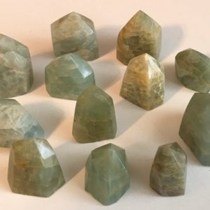 Aquamarine Premium Small Standing Polished Points, Aquamarine Is A Stone Of Courage, Its Calming Energies Reduce Stress And Quiet The Mind | Natural genuine stones & crystals in various shapes & sizes. Buy raw cut, tumbled, or polished gemstones for making jewelry or crystal healing energy vibration raising reiki stones. #crystals #gemstones #crystalhealing #crystalsandgemstones #energyhealing #affiliate #ad