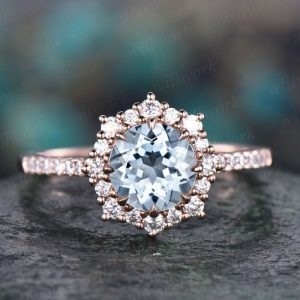 6.5mm halo aquamarine engagement ring solid 14k rose gold moissanite ring band vintage March birthstone ring wedding promise ring jewelry | Natural genuine Array rings, simple unique alternative gemstone engagement rings. #rings #jewelry #bridal #wedding #jewelryaccessories #engagementrings #weddingideas #affiliate #ad