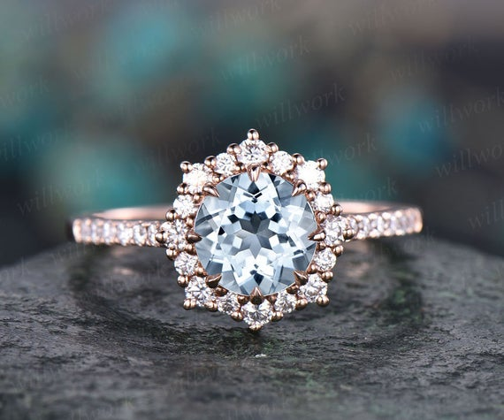 6.5mm Halo Aquamarine Engagement Ring Solid 14k Rose Gold Moissanite Ring Band Vintage March Birthstone Ring Wedding Promise Ring Jewelry