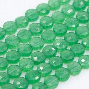 "Shop Aventurine Faceted Beads! 6x4MM Grass Green Aventurine Beads Faceted Flat Round Button AAA Genuine Natural Gemstone Loose Beads 15.5"" / 7.5"" Bulk Lot Options (111056) 
