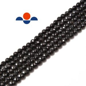 "Black Tourmaline Faceted Round Beads 2mm 3mm 4mm 5mm 15.5"" Strand 