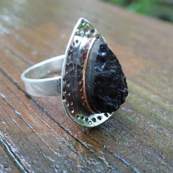 Natural Black Tourmaline Rough Stone Sterling Silver Ring Size 7 Sterling Silver Ring Natural Stone Ring Natural Stone Ring Size 7