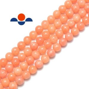 "Shop Calcite Beads! Peach Calcite Smooth Round Size 6mm 8mm 10mm 15.5"" Strand 