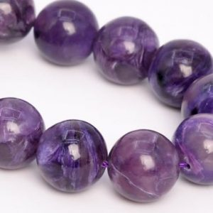 """Shop Charoite Round Beads! 13MM Deep Color Charoite Beads Russia Grade A+ Genuine Natural Gemstone Half Strand Round Loose Beads 7.5"""" Bulk Lot Options (108985h-2838) 