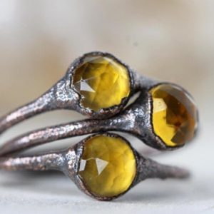 Shop Citrine Rings! Citrine Ring – Rose Cut Solitaire Ring – November Birthstone Ring – Faceted Ring | Natural genuine Citrine rings, simple unique handcrafted gemstone rings. #rings #jewelry #shopping #gift #handmade #fashion #style #affiliate #ad