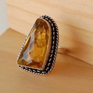 Shop Citrine Rings! Citrine Ring, Citrine Stone,  Citrine Jewelry,Natural Citrine,Abundance Stone,Stone of Success,Crystal Jewelry,Gold Gemstones,Size 11 Ring W | Natural genuine Citrine rings, simple unique handcrafted gemstone rings. #rings #jewelry #shopping #gift #handmade #fashion #style #affiliate #ad