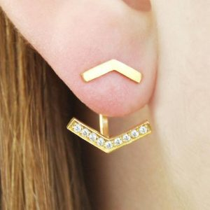 Shop Diamond Earrings! Gold Ear Jackets, Chevron Earrings, Yellow Gold Studs, Gift For Her, Modern Gold Earrings, Sterling Silver, Diamond Pavé, Arrow Ear Jackets   Natural genuine Diamond earrings. Buy crystal jewelry, handmade handcrafted artisan jewelry for women.  Unique handmade gift ideas. #jewelry #beadedearrings #beadedjewelry #gift #shopping #handmadejewelry #fashion #style #product #earrings #affiliate #ad