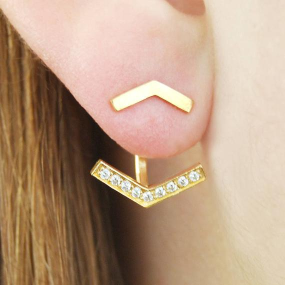 Gold Ear Jackets, Chevron Earrings, Yellow Gold Studs, Gift For Her, Modern Gold Earrings, Sterling Silver, Diamond Pavé, Arrow Ear Jackets