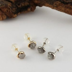 Shop Diamond Earrings! Rough Diamond Bezel Post Earrings Recycled Gold – Rose, White, or Yellow Gold Custom Made Earrings by Dawn Vertrees   Natural genuine Diamond earrings. Buy crystal jewelry, handmade handcrafted artisan jewelry for women.  Unique handmade gift ideas. #jewelry #beadedearrings #beadedjewelry #gift #shopping #handmadejewelry #fashion #style #product #earrings #affiliate #ad