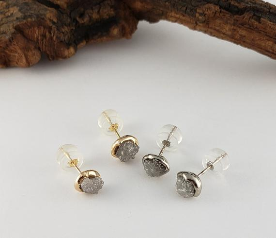 Rough Diamond Bezel Post Earrings Recycled Gold - Rose, White, Or Yellow Gold Custom Made Earrings By Dawn Vertrees