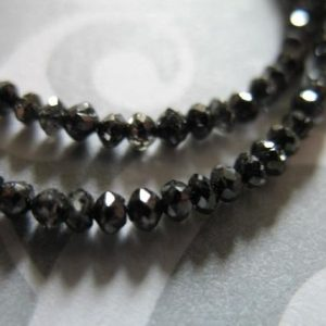 5-20 pcs / 2-2.5 mm, BLACK DIAMOND Rondelles Beads / Luxe AAA, Faceted, Untreated Genuine, april birthstone brides bridal..drb 25 tr | Natural genuine faceted Diamond beads for beading and jewelry making.  #jewelry #beads #beadedjewelry #diyjewelry #jewelrymaking #beadstore #beading #affiliate #ad