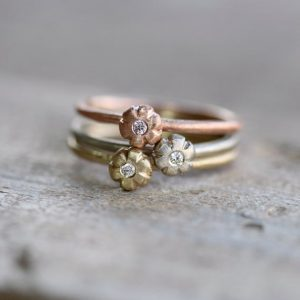 Diamond Stacking Rings 14k Rose Yellow White Gold Delicate Floral Spring Flower White Sparkly Gemstone Boho Bouquet Three – Dainty Diamond | Natural genuine Gemstone rings, simple unique handcrafted gemstone rings. #rings #jewelry #shopping #gift #handmade #fashion #style #affiliate #ad