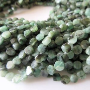 Shop Emerald Bead Shapes! 5 Strands Natural Emerald Flat Coin Beads, Wholesale Emerald Beads, 5mm Coin Beads, 13.5 Inch Strand, SKU-2802/1 | Natural genuine other-shape Emerald beads for beading and jewelry making.  #jewelry #beads #beadedjewelry #diyjewelry #jewelrymaking #beadstore #beading #affiliate #ad