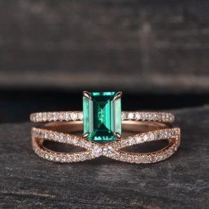 Lab Emerald Bridal Sets Wedding Ring Rose Gold Engagement Ring Set Diamond Half Eternity Women Pave Delicate Matching Infinity  Anniversary | Natural genuine Gemstone rings, simple unique alternative gemstone engagement rings. #rings #jewelry #bridal #wedding #jewelryaccessories #engagementrings #weddingideas #affiliate #ad