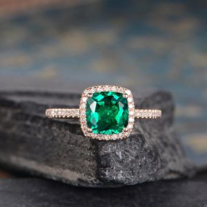 Lab Emerald Engagement Ring Rose Gold Cushion Cut Halo Diamond Bridal Wedding Ring Promise Birthstone May Women Half Eternity Antique Gift | Natural genuine Emerald rings, simple unique alternative gemstone engagement rings. #rings #jewelry #bridal #wedding #jewelryaccessories #engagementrings #weddingideas #affiliate #ad