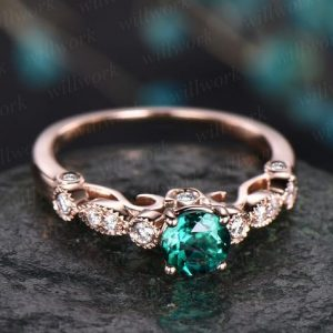 Shop Emerald Engagement Rings! Rose Gold Ring 5mm Green Emerald Ring Vintage Emerald Engagement Ring 14k Rose Gold Diamond Ring Unique Design Antique May Birthstone Ring | Natural genuine Emerald rings, simple unique alternative gemstone engagement rings. #rings #jewelry #bridal #wedding #jewelryaccessories #engagementrings #weddingideas #affiliate #ad