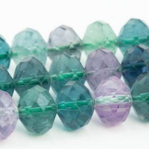 "Shop Fluorite Faceted Beads! 8x6MM Multicolor Fluorite Beads Grade AAA Genuine Natural Gemstone Faceted Rondelle Loose Beads 15.5"" / 7.5"" Bulk Lot Options (111061) 
