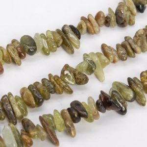 "Shop Garnet Chip & Nugget Beads! 12-24×3-5MM Green Garnet Beads Stick Pebble Chip Grade AA Genuine Natural Gemstone Loose Beads 15.5"" / 7.5"" Bulk Lot Options (111243) 
