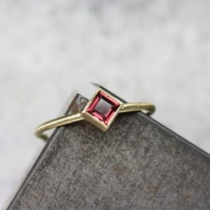 Shop Garnet Rings! Delicate Kite Set Anthill Garnet 18K Yellow Gold Ring Rose Pink Wine Princess Cut Arizona Gemstone Modern Elegant Square Setting – Roseneck | Natural genuine Garnet rings, simple unique handcrafted gemstone rings. #rings #jewelry #shopping #gift #handmade #fashion #style #affiliate #ad