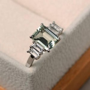 Shop Green Amethyst Rings! Natural green amethyst rings, promise ring, emerald cut green gemstone, sterling silver ring, unique rings | Natural genuine Green Amethyst rings, simple unique handcrafted gemstone rings. #rings #jewelry #shopping #gift #handmade #fashion #style #affiliate #ad