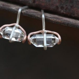Shop Herkimer Diamond Earrings! Futuristic Herkimer Diamond Stud Earrings Silver 14k Rose Gold Quartz Unique Cosmic Fantasy Design Gift Idea For Her Outer – Space Swirls | Natural genuine Herkimer Diamond earrings. Buy crystal jewelry, handmade handcrafted artisan jewelry for women.  Unique handmade gift ideas. #jewelry #beadedearrings #beadedjewelry #gift #shopping #handmadejewelry #fashion #style #product #earrings #affiliate #ad