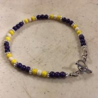 Purple Bracelet – Lsu Jewelry – Silver Jewellery – Gemstone – White – Yellow – Beaded – Howlite | Natural genuine Gemstone jewelry. Buy crystal jewelry, handmade handcrafted artisan jewelry for women.  Unique handmade gift ideas. #jewelry #beadedjewelry #beadedjewelry #gift #shopping #handmadejewelry #fashion #style #product #jewelry #affiliate #ad