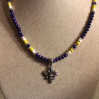 Purple Necklace – Lsu – Howlite Gemstone Jewellery – Silver Jewelry – Fleur De Lis Pendant – Yellow – White | Natural genuine Gemstone jewelry. Buy crystal jewelry, handmade handcrafted artisan jewelry for women.  Unique handmade gift ideas. #jewelry #beadedjewelry #beadedjewelry #gift #shopping #handmadejewelry #fashion #style #product #jewelry #affiliate #ad