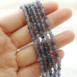 """Shop Iolite Faceted Beads! High Quality Grade A Natural Iolite Semi-Precious Gemstone FACETED Round Beads – approx 4mm – 15.5"""" long 