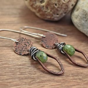 Shop Jade Earrings! Artisan Jade Earrings, Rustic Green Stone Dangles, Unique Copper Jewelry Handmade, Sterling Silver Ear Wires | Natural genuine Jade earrings. Buy crystal jewelry, handmade handcrafted artisan jewelry for women.  Unique handmade gift ideas. #jewelry #beadedearrings #beadedjewelry #gift #shopping #handmadejewelry #fashion #style #product #earrings #affiliate #ad