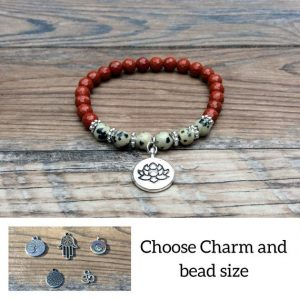 Shop Jasper Bracelets! Red Jasper bracelet with Lotus charm, Dalmation Jasper | Natural genuine Jasper bracelets. Buy crystal jewelry, handmade handcrafted artisan jewelry for women.  Unique handmade gift ideas. #jewelry #beadedbracelets #beadedjewelry #gift #shopping #handmadejewelry #fashion #style #product #bracelets #affiliate #ad