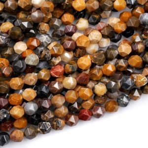 "Star Cut Natural Brown Autumn Jasper Beads Faceted 8mm Rounded Nugget Sharp Facets 15"" Strand 
