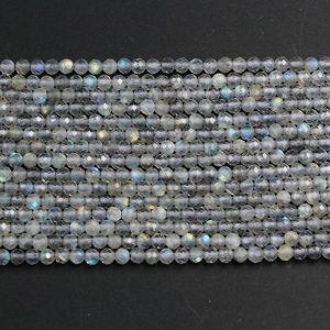 "Shop Labradorite Faceted Beads! A Grade Micro Faceted Natural Labradorite 2mm Round Beads 3mm Round Beads 4mm 5mm Round Beads Small Faceted Gemstone Beads 16"" Strand 
