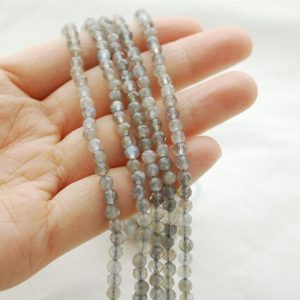"""Shop Labradorite Faceted Beads! High Quality Grade A Natural Labradorite Semi-Precious Gemstone FACETED Round Beads – approx 4mm – 15.5"""" strand 
