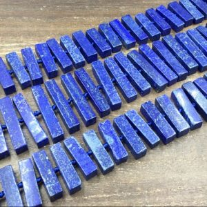 Shop Lapis Lazuli Bead Shapes! Blue Lapis Stick Beads Rectangle Lapis Lazuli Slab&Slice Beads Center Drilled Blue Lapis Gemstone Beads Supplies 8-10*30-45mm full strand | Natural genuine other-shape Lapis Lazuli beads for beading and jewelry making.  #jewelry #beads #beadedjewelry #diyjewelry #jewelrymaking #beadstore #beading #affiliate #ad