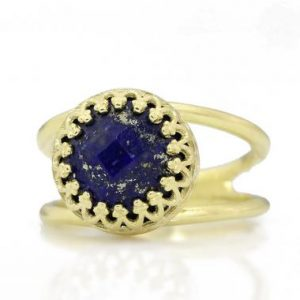 AA grade Lapis ring,14k gold ring,vintage ring,crown ring,solitaire ring,September birthstone ring,gemstone ring,Lapis lazuli rings | Natural genuine Lapis Lazuli rings, simple unique handcrafted gemstone rings. #rings #jewelry #shopping #gift #handmade #fashion #style #affiliate #ad