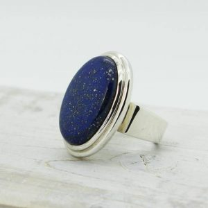 Shop Lapis Lazuli Rings! Big lapis ring oval shape cab stunning lapis lazuli natural stone solid sterling silver and lapis jewelry great quality lapis ring handmade | Natural genuine Lapis Lazuli rings, simple unique handcrafted gemstone rings. #rings #jewelry #shopping #gift #handmade #fashion #style #affiliate #ad