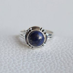 Shop Lapis Lazuli Jewelry! Natural Lapis Lazuli Ring-Handmade Silver Ring-925 Sterling Silver Ring-Round Lapis Lazuli Ring-Gift for her-Taurus Birthstone-Promise Ring | Natural genuine Lapis Lazuli jewelry. Buy crystal jewelry, handmade handcrafted artisan jewelry for women.  Unique handmade gift ideas. #jewelry #beadedjewelry #beadedjewelry #gift #shopping #handmadejewelry #fashion #style #product #jewelry #affiliate #ad