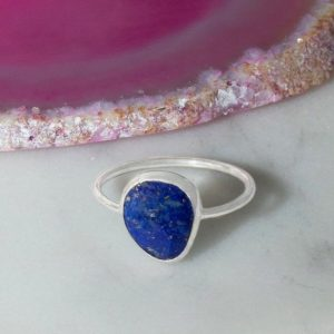 Silver Lapis Lazuli Ring-Silver Gemstone Ring-Cocktail Ring-Sterling Silver Stacking Ring-Blue Gemstone Ring-Blue Lapis Ring-Gift For Her | Natural genuine Gemstone rings, simple unique handcrafted gemstone rings. #rings #jewelry #shopping #gift #handmade #fashion #style #affiliate #ad