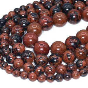 Mahogany Obsidian Beads Grade AAA Genuine Natural Gemstone Round Loose Beads 6MM 8MM 12MM Bulk Lot Options | Natural genuine round Mahogany Obsidian beads for beading and jewelry making.  #jewelry #beads #beadedjewelry #diyjewelry #jewelrymaking #beadstore #beading #affiliate #ad