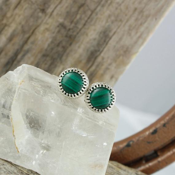 Natural Malachite Earrings - Sterling Silver Earrings - Malachite Studs - Stud Earrings